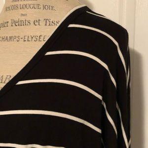 White Birch black/white striped long sleeve blouse